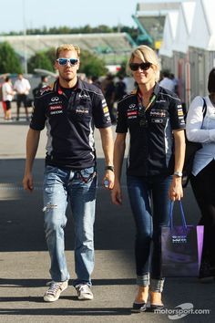 Sebastian Vettel, with Britta Roeske, Red Bull Racing Press Officer (Suzuka 2013)