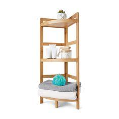 Bamboo 3 Tier Corner Shelf | Kmart Bathroom Caddy, Bathroom Shop, Small Bathroom Storage, Bathroom Shelves, Kmart Bathroom, Bathroom Ideas, Bathroom Drawers, Bathroom Grey, Yellow Bathrooms