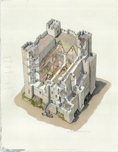 Credit: English Heritage A cutaway reconstruction drawing of the Keep during a royal visit c1190, with the furniture and decoration visible