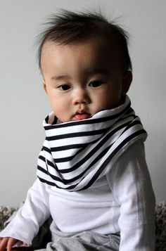 "Modern Bib (Black/White Stripes) All in One Scarf & Bib ""Scabib"" TM for babies or toddlers"
