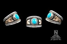 This beautiful sterling silver ring displays yellow gold overlay, with a thin silver rope inner edge, and an oval cut blue turquoise center stone complimented with a black antique background.