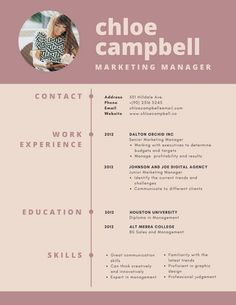 Rosewood Modern Infographic Resume