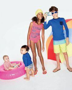 J.Crew Girls' excusez-moi stripe swimtank and Boys' contrast pocket rash guard. To preorder call 800 261 7422 or email erica@jcrew.com.