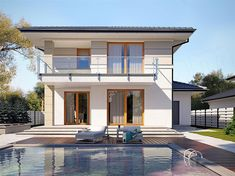 mediterranean homes exterior modern House Layout Plans, Duplex House Plans, House Layouts, Modern Family House, Modern House Design, Mediterranean Homes Exterior, Tuscan House, Storey Homes, Architect House