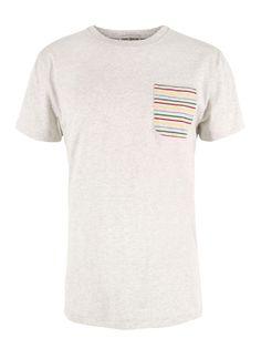Oliver Spencer Cream Stripe Pocket T-Shirt