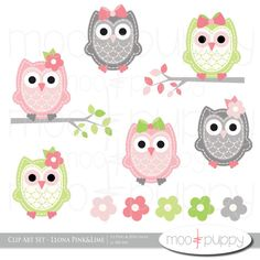 Owl Clip Art Leona Pink&Lime INSTANT DOWNLOAD by mooandpuppy