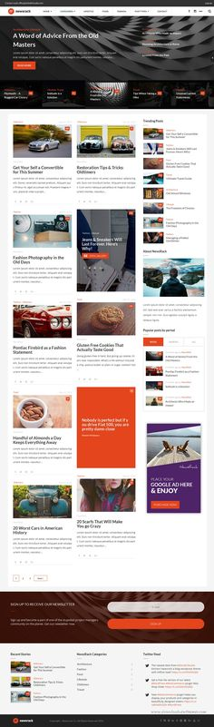Newsrack – Responsive Wordpress Template With Infinitive Single Post Load… Amazing Website Designs, News Website Design, Flat Web Design, Ios Design, Dashboard Design, Wordpress Template, Blog Template, Event Landing Page, Website Themes