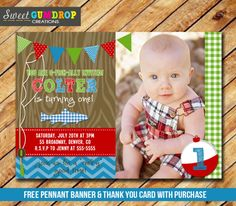 Fishing Birthday Invitation - Printable - FREE pennant banner and thank you card with purchase on Etsy, Free Printable Birthday Invitations, Photo Birthday Invitations, Invites, Boys First Birthday Party Ideas, Baby Boy Birthday, Gone Fishing Party, Harry Birthday, Pennant Banners, Birthday Pictures