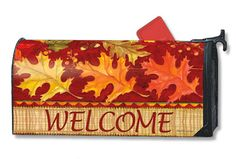 Tossed Leaves Fall Cover-Ups Magnetic Mailbox Cover by Magnet Works (: Magnetic Mailbox Covers, Painted Mailboxes, Tossed, Autumn Leaves, Fall Decor, Holiday, Roof Tiles, Letters, Painted Boxes