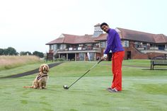Naga Munchetty teeing off at The Oxfordshire whilst competing in a charity golf day in aid of Hearing Dogs for Deaf People on 11th July 2014 #bbcnaga #nagamunchettygolf #theoxfordshire #hearingdogsforthedeaf #leaderboardgroup #golfcelebrities