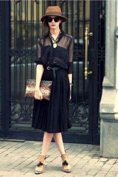 tawny vintage hat black Zara skirt black Maje blouse black H&M belt nude Zara heels