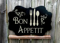 I NEED this for my kitchen :) Bon Appetit Sign, Glossy Black with Tan Lettering, Cutlery and Flourishes