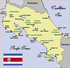 Costa Rica is about the size of West Virginia with 20,000 square miles. It is located where North and South America meet in Central America.