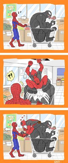 Spideypool, Venom and his lollipop xD Funny Marvel Memes, Marvel Jokes, Marvel Dc Comics, Marvel Heroes, Marvel Avengers, Spideypool, Superfamily, Deadpool X Spiderman, Mundo Comic