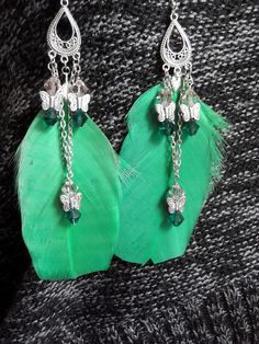 Lovely Green Feather Earrings With by WolfMountainJewelry on Etsy, $18.00