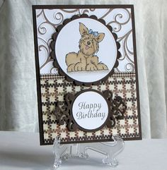 Click to pin. Yorkie Dog Card  Happy Birthday  Hand Stamped by catSCRAPPIN, $4.95