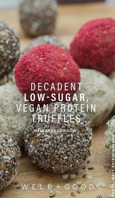 vegan and gluten free protein truffles Raw Desserts, Vegan Dessert Recipes, Vegan Sweets, Healthy Desserts, Snack Recipes, Healthy Food, Vegan Food, Free Recipes, Paleo Treats