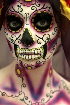 Day of the dead makeup for neck and shoulders. Not for me but beautiful