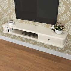 Wall-Mounted TV Cabinet with Drawer Wall Shelf Floating Shelf Set Top Box Router Sky Box Storage Shelf Photo Toy Display Shelf TV Console (Color : Ivory, Size : Wall Mounted Wood Shelves, Rustic Wood Floating Shelves, Hanging Cabinet, Wall Shelves, Display Shelves, Storage Shelves, Toy Display, Simple Living Room, Living Rooms