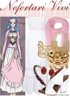 One Piece Fashion » Nefertari Vivi » Ceremonial DressRequested by Anonymous  This is a nice summer outfit: white maxi dress + pink stole + gold/red accessories + high heel sandals. In case you're interested, I used this figure as a reference.