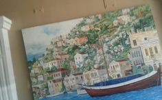 #canoe #town #city #sea #lake #houses #hill #home #ocean #classic #vintage #art #painting