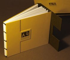 Handmade portfolio books for A4 Studio.