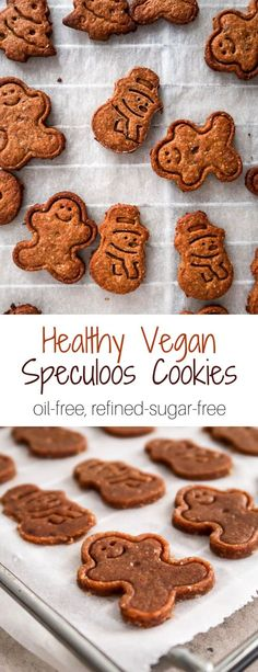 These vegan speculoos cookies are oil-free and refined-sugar-free. They are made with only wholesome ingredients and taste amazing. Sugar Free Cookies, Sugar Free Desserts, Sugar Free Recipes, Diabetic Desserts, Diabetic Recipes, Healthy Vegan Snacks, Vegan Sweets, Healthy Cookies For Kids, Whole Food Recipes
