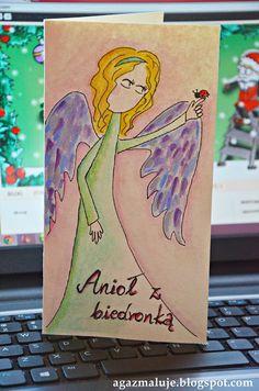 kartka Anioł z biedronką