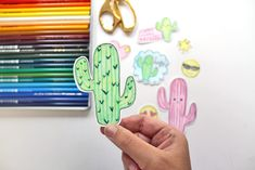 Learn how to make your own Cactus Emoji Stickers using this tutorial by Katie Smith for Tombow USA using their 1500 Colored Pencils! Easy Drawings, Pencil Drawings, Make Your Own, Make It Yourself, Emoji Stickers, Training Videos, Quote Art, Creepy Dolls, Tombow