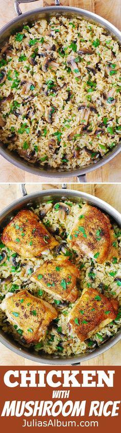 Chicken Thighs with Mushroom Rice - easy, gluten free recipe!