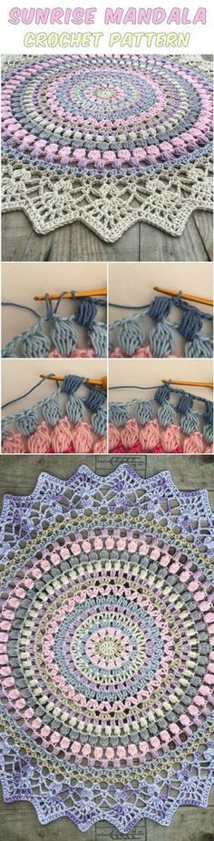 Sunrise Mandala Crochet – Free Crochet Pattern (Scroll Down For English Version)...I think this would make a Beautiful Rug using 1 or more colors and 2 strands held together thru out...