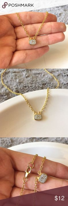 """Platinum Druzy Glitter Charm Beautiful and sparkly necklace! Brand new and made by me. Charm is a titanium treated druzy and gold plated bezel. Platinum/silver color. Chain is 18"""". Jewelry Necklaces"""