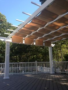 Maximum shade for this backyard deck! With this Trex Pergola + ShadeTree Canopy these residents will be able to enjoy the view of the pool without being baked by the sun. Support columns are 8″ x 8′ High square structural fiberglass.       Pergola: 16' Wide x 18' Projection