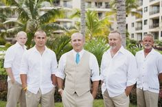 Casual Wedding Attire Groom | groom-and-groomsmen-in-white-shirts-and-tan-pants.....Add Chocolate instead of kakhi