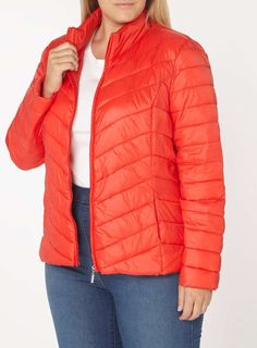 Womens DP Curve Plus Size Red Puffed Jacket- Red