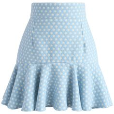Chicwish Sprightly Polka Dots Wool-blend Bud Skirt (340 GTQ) ❤ liked on Polyvore featuring skirts, blue, blue skirt, wool blend skirt, blue polka dot skirt, dot skirt and flounce hem skirt