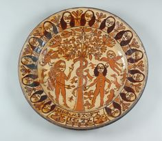 Adam & Eve Charger Slipware signed and dated by Thomas Toft 1674 Ceramic Plates, Ceramic Art, Art Nouveau, Old Crocks, Delft Tiles, English Pottery, Adam And Eve, Sgraffito, Paintings I Love