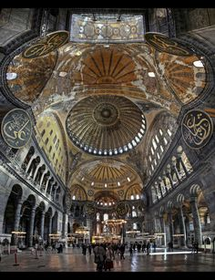 Traveling - Monuments - Architecture - Interior Design -The breathtaking interior of the Hagia Sophia, Istanbul, Turkey. Hagia Sophia is a former Greek Orthodox patriarchal basilica, later an imperial mosque, and now a museum. Islamic Architecture, Historical Architecture, Beautiful Architecture, Beautiful Buildings, Art And Architecture, Magic Places, Places To Go, Places To Travel, Beautiful Mosques