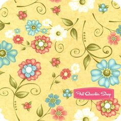 Butterfields Yellow Tossed Flowers Yardage  SKU# 7594-33   Butterfields by Margot Languedoc of The Pattern Basket for Henry Glass Fabrics
