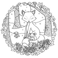 Christmas Winter Woodland Cosy Foxes Adult Coloring Page Download Bundle