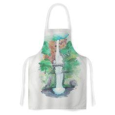 """Rebecca Bender """"Multnomah Falls Watercolor"""" Green Painting Artistic Apron"""