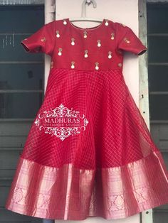 One more today. Stunning red color kids gown with hand embroidery kasu work on yoke. Other designs and colours can be customised. Kids Party Wear Dresses, Kids Dress Wear, Kids Gown, Dresses Kids Girl, Baby Girl Dress Patterns, Baby Dress Design, Frock Design, Long Frocks For Kids, Frocks For Girls
