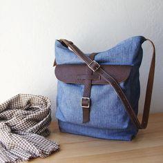 Shoulder Bag in Herringbone Denim and Leather  $140
