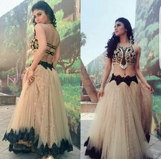 Two Pieces Prom Dress A-line Sweetheart Applique Elegant Long Prom Pakistani Dresses, Indian Dresses, Indian Outfits, Mouni Roy Dresses, Bridal Dresses, Prom Dresses, Wedding Dress, Actors, Indian Designer Wear