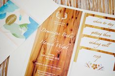 wooden look stationery, would be for a rustic wedding