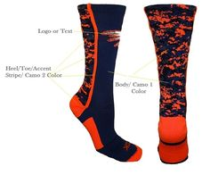 Look in style on the field with these custom digital crew socks especially designed in your colors for your team. Softball Uniforms, Team Uniforms, Sports Socks, Baseball Socks, Custom Socks, Calf Socks, Digital Camo, Knee High Socks, Lycra Spandex