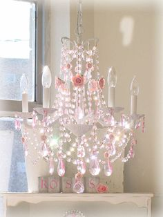 Romantic French Chandelier With Pink Roses and Pink Prisms