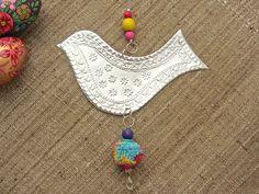 Hanging Bird Decoration, Gypsy Boho Decor, Embossed Tin Art. $29.00, via Etsy.