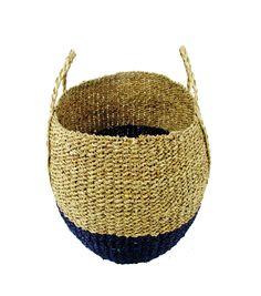 Hudson 43™ Medium Round Seagrass Basket-Blue