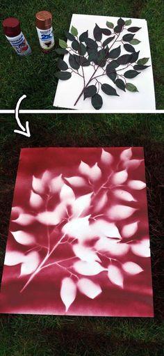 Spray paint flowers on canvas
